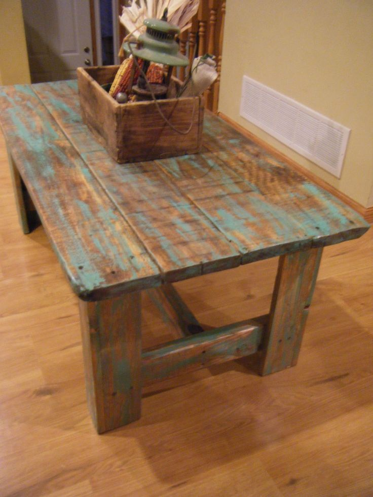 Old barnwood coffee table. Like this distressed look
