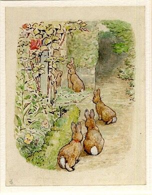Illustration for page 65 of 'The Tale of the Flopsy Bunnies', 1909; in foreground three rabbits on garden path, beyond other rabbits on gras...
