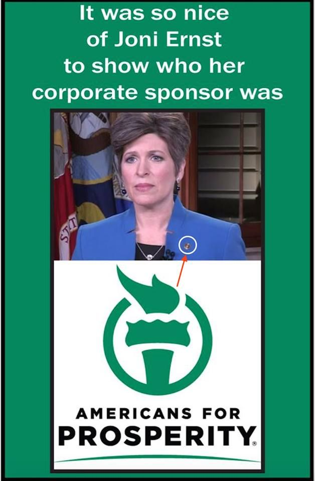 Joni Ernst wore her Koch Brothers pin for her response to the State of the Union address. Makes perfect sense.