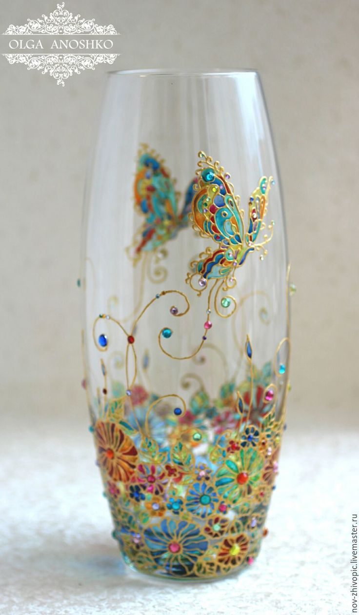 "Buy and order Vase ""Flying Butterfly"". Stained glass painting on Livemaster online shop. Shipped over Russia and the CIS. Production time: 5-10 days. Materials: Vase glass, the contours on the glass,…. Dimensions: Height 26 cm, diameter 10 cm"