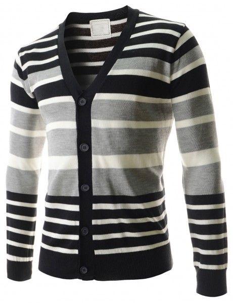 Doublju - Cardigan Masculino Listrado Slim Tricô Compre roupas de qualidade, com design inovador e preço justo!