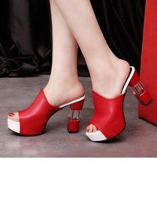 53052e5148 Sapatos Mulheres Sandálias Tamancos Saltos Salto robusto Couro - Floryday    floryday.com
