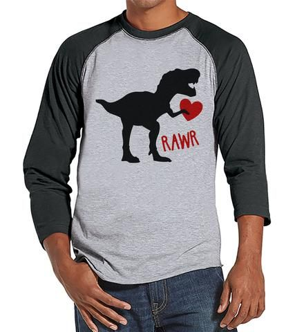 Men's Valentine Shirt - Mens Dinosaur Valentines Day Shirt - Dino Valentines Gift for Him - Funny Happy Valentine's Day - Grey Raglan - 7 ate 9 Apparel