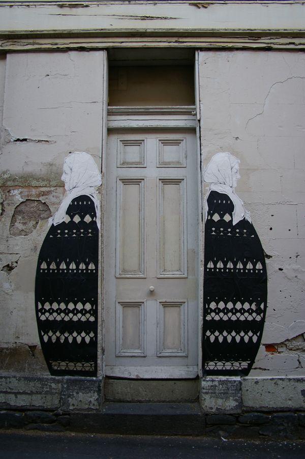 Stanislava Pinchuk (AKA Miso). Juxtaposition of identical images at opposite ends of a door on Babushka Street, Melbourne, Australia