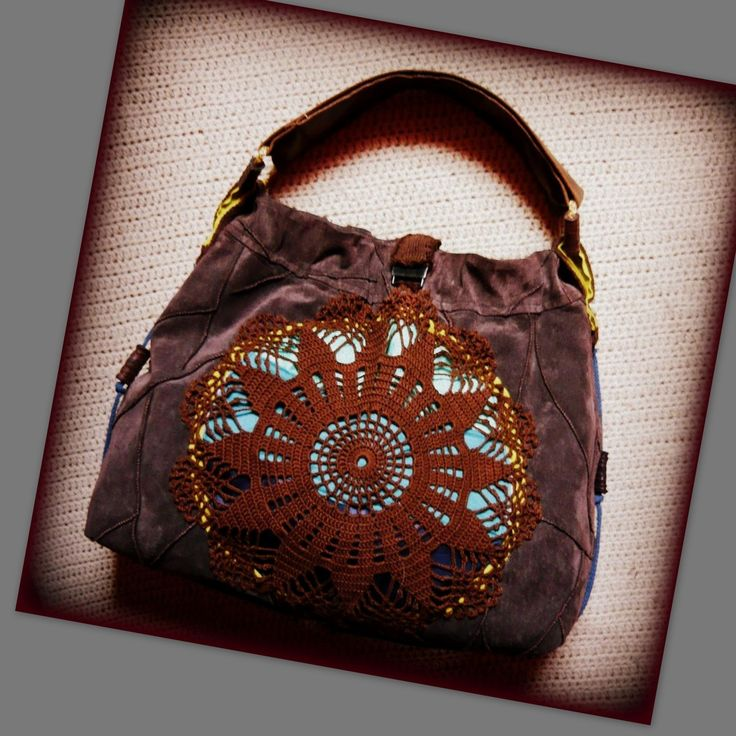 Handmade by Judy Majoros - Leather-crochet boho bag.Recycled bag
