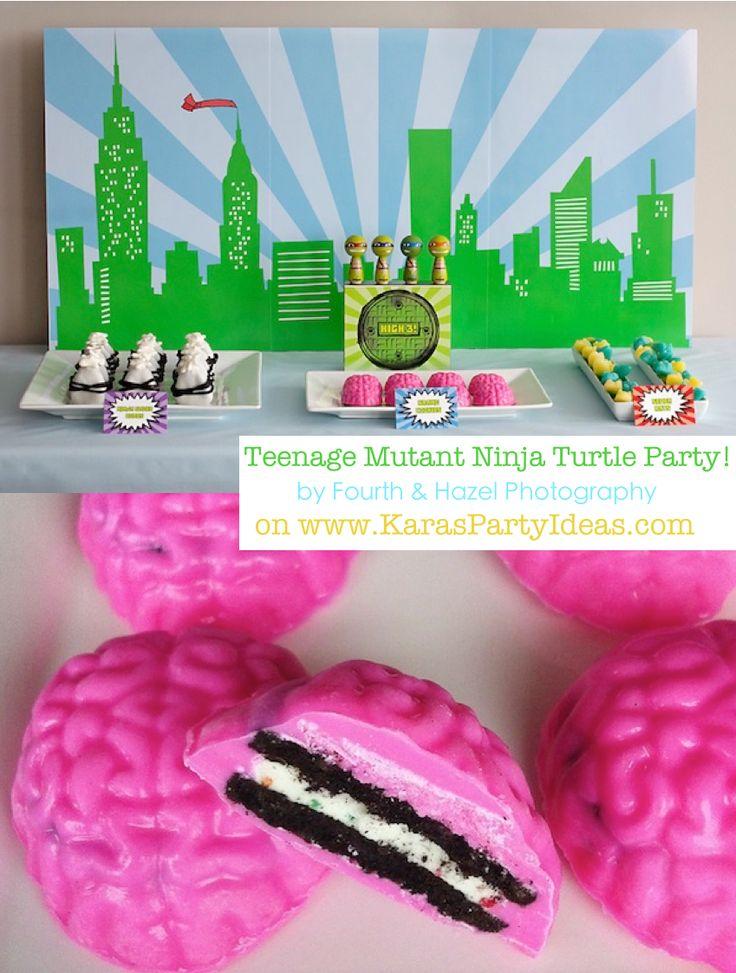 AN AWESOME Teenage Mutant Ninja Turtle Party via Karas Party Ideas #ninja #turtle #party #idea #cake #supplies