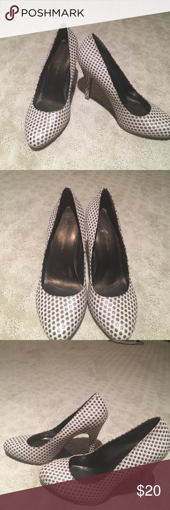 Jessica Simpson Polka Dot Pumps Tan and Gray polka dot pumps. Very gently used. 3.5 inch heel. Size 7. Jessica Simpson Shoes Heels
