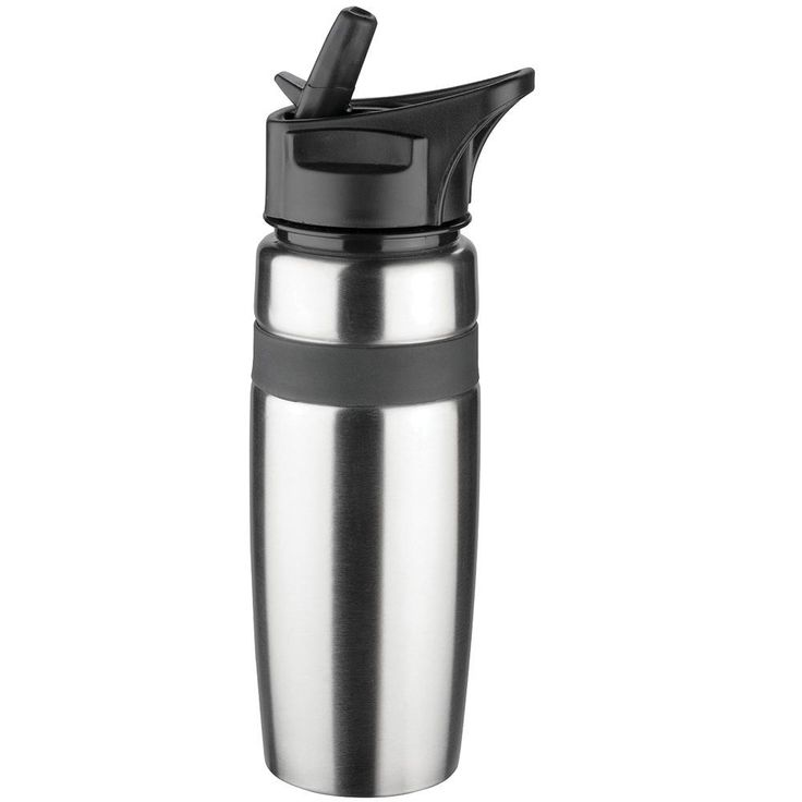 This sleek stainless steel drink bottle features a 600ml capacity and a flip up rubberised sipper.