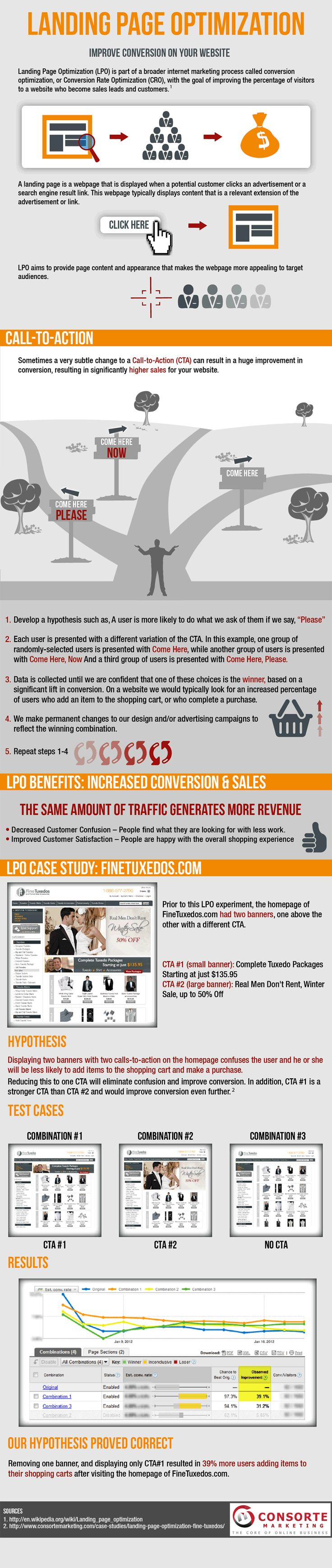 This is an excellent infographic about testing marketing hypothesis through landing page optimization.