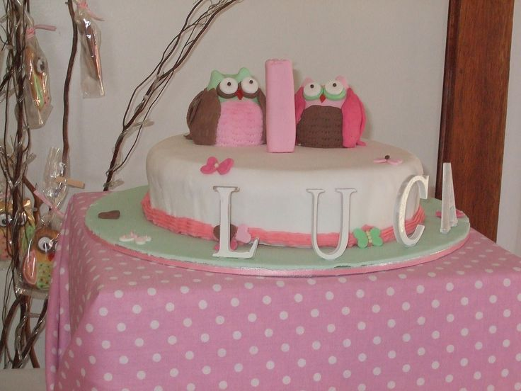 Owl cake I made for my grand-daughter. The owls were made of fondant icing and quite solid. The name lettering was made of a lightweight wood.
