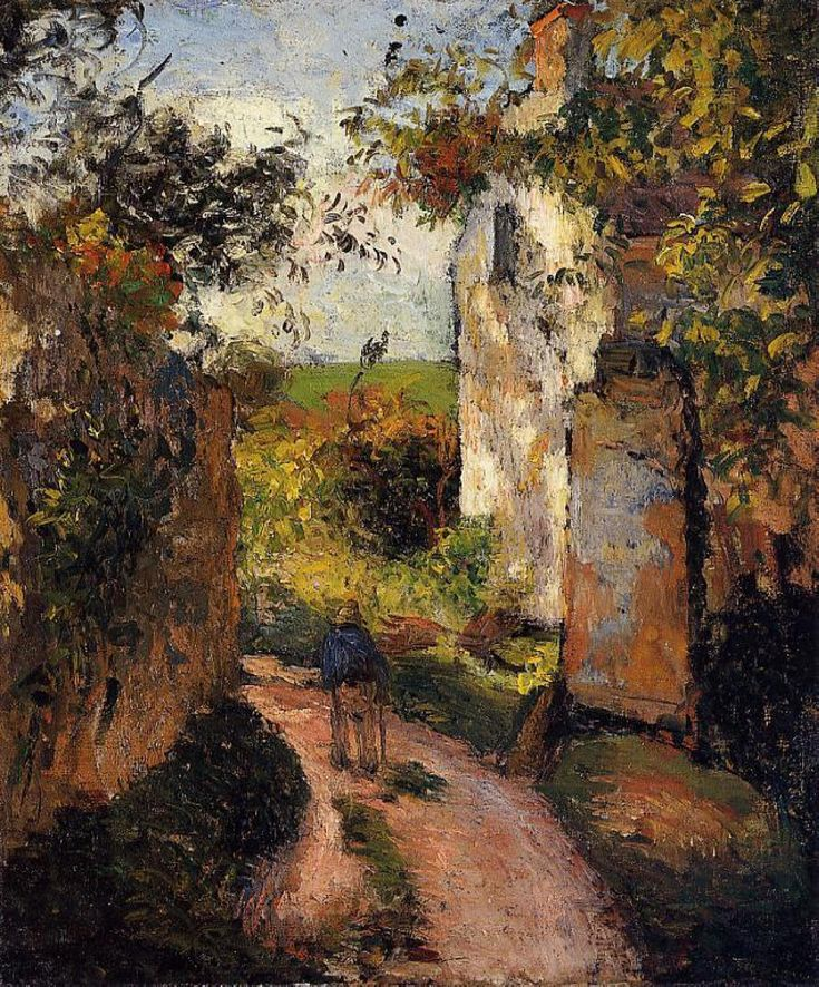 urgetocreate:  Camille Pissarro, A Peasant in the Lane at Hermitage, Pontoise, 1876