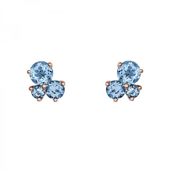 Pendientes stud tres piedras en plata de ley/oro rosa con topacio london blue