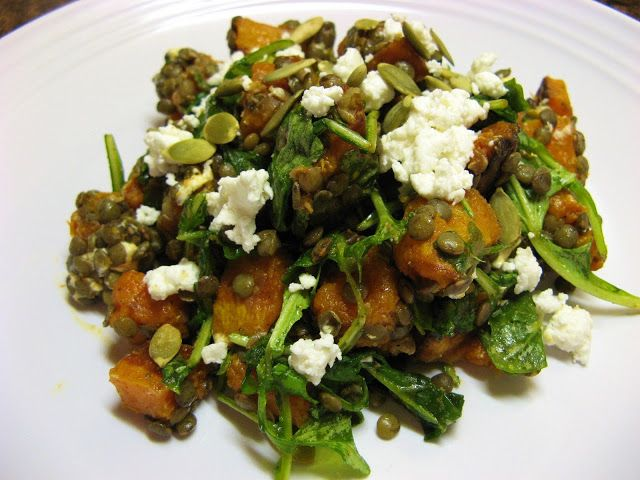 ... Well-Fed Newlyweds: Spicy Squash Salad with Lentils and Goat Cheese