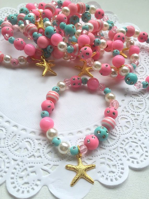 SET of TEN. Starfish, mermaid birthday party favor, jewelry favor, beaded bracelet, kids bracelet.