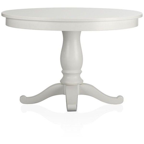 "Crate & Barrel Avalon 45"" White Extension Dining Table ($499) ❤ liked on Polyvore featuring home, furniture, tables, dining tables, interior design, casa, circle, circular, round and butterfly leaf dining table"