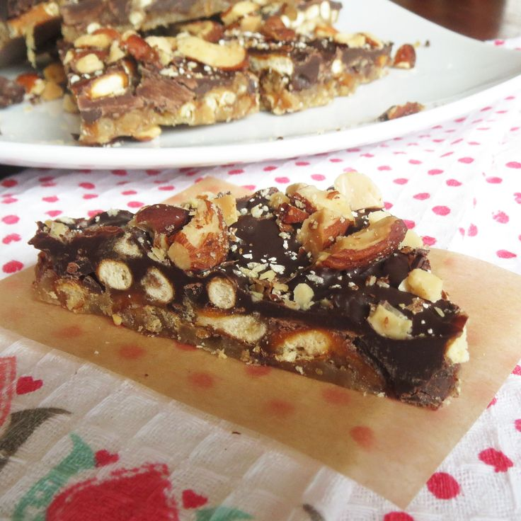 Easy Pretzel Toffee Crack by rumblytumbly.com Ingredients: About 4 cups of pretzels, broken up with hands, maybe a bit more. Enough to cover up the bottom of a jelly roll pan. 1 cup butter 1 cup brown sugar 2 cups semi-sweet chocolate chips 1 cup of roasted, salted almonds, smashed