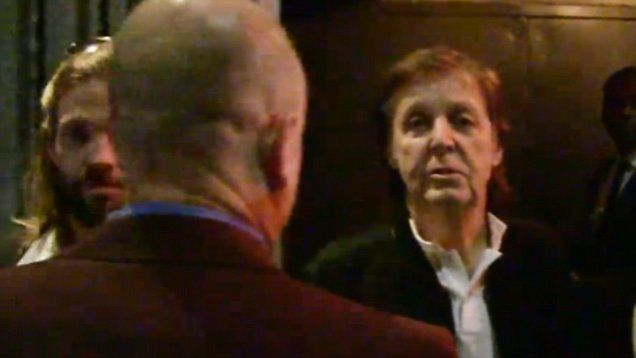 Beatles legend Paul McCartney, 73, and his wife Nancy are turned away from Tyga''s Grammy after-party.