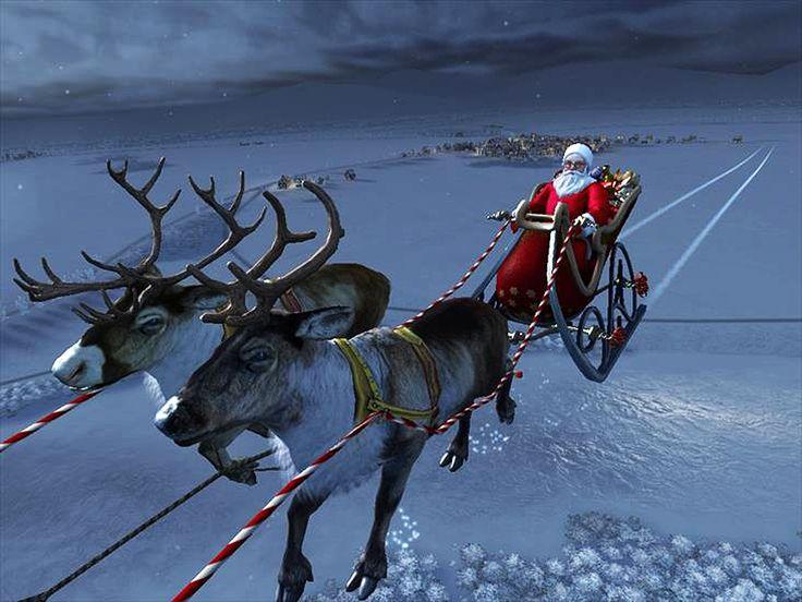 Christmas with Santa Claus and Reindeer Flying | Christmas ...