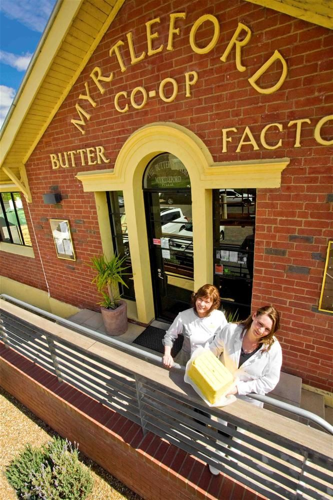 Myrtleford Butter Factory: Our butter is hand-made using cream from local high country cows and a unique blend of cultures in true European style. The lightly salted butter is made using Mt Zero pink lake salt. We also produce a Pure Buttermilk, the only one in Australia.