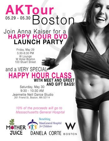 Celebrity trainer, and our own Hydration Specialist, Anna Kaiser is throwing a party in Boston to launch her incredible Happy Hour workout DVD and you're invited!  #EssentiaWater #HappyHour #AKTour #AKTinmotion #AnnaKaiser #DVDlaunch #Boston