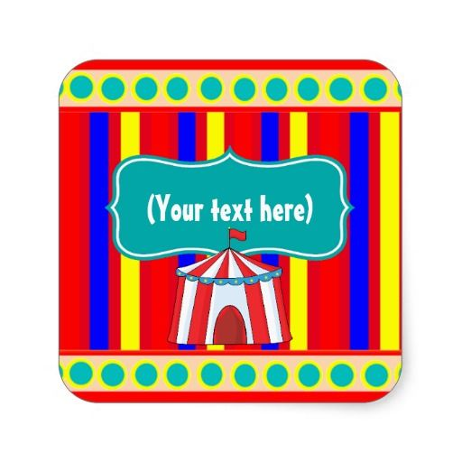 Kids Circus Party Personalized Square Sticker