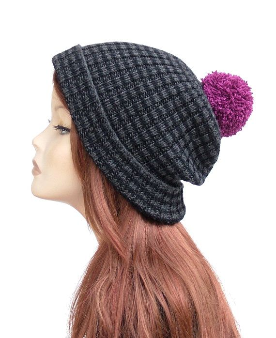 Soft merino wool ribbed beanie in black and grey with fuchsia pom pom by Rukkola on Etsy. #merinowoolhat #womenswinterhat #pompombeanie