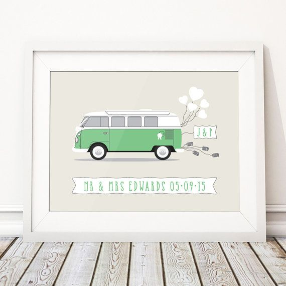 This beautiful unframed 'CAMPERVAN' personalised wedding print makes the perfect unique and thoughtful custom wedding gift, featuring the couples names and wedding date, the perfect gift for camper van fans or couples that had a Campervan at their wedding! Personalised prints act as a treasured reminder of the happy couples special day for years to come and a truly special wedding present. The print comes unframed, just pop it in a frame (our prints are all in standard sizes so you can…
