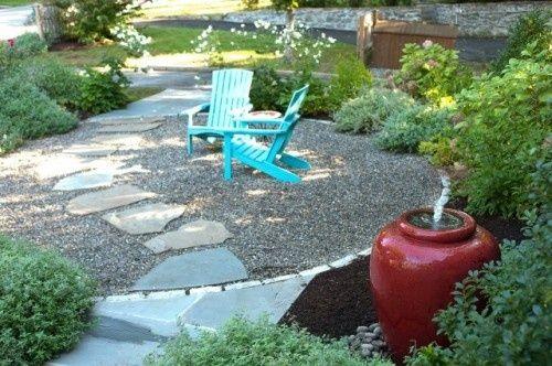 Love pea stone patios: Gravel Patio, Landscape Design, Seats Area, Front Yard, Firepit, Stones Patio, Patio Ideas, Peas Gravel, Fire Pit