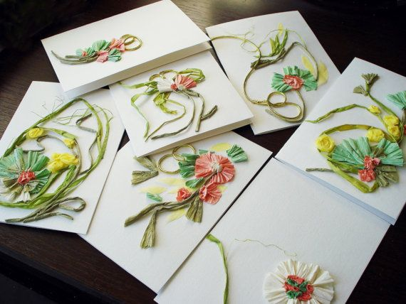 Set of 7 handmade cards Congratulations cards by FloralCollage