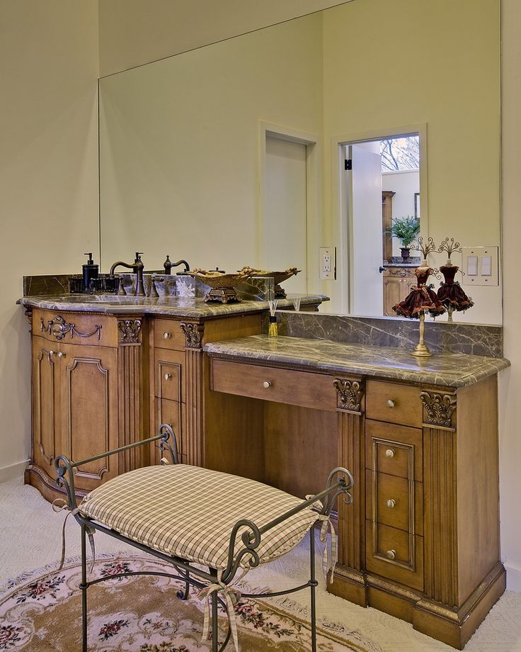 Rustic Brown Vanity With Dark Brown Marble Top Brown
