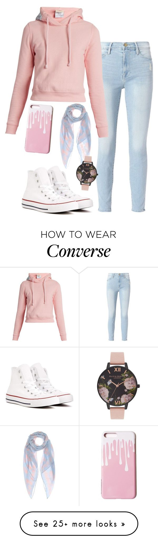 """Casual pink white and blue"" by meta009 on Polyvore featuring Converse, Frame, Vetements, Alexander McQueen and Olivia Burton"