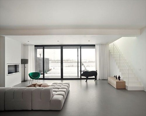 Grey Seamless Poured Resin Barefoot Comfort Flooring Open Plan Apartment poured resin north east