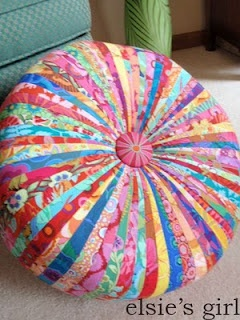 Gorgeous multi-stripped cushion - love this 1950's inspired - and I could use strips of all my favourite fabrics - that were too small to use but couldn't throw away ;-)