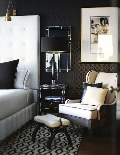 Black Chrome Brass Nailhead Bedside Table Large White