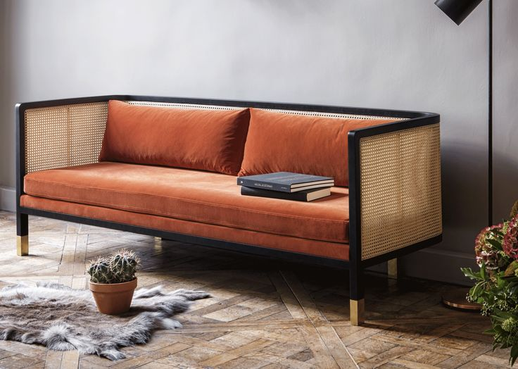 Red Edition Geflochtene Couch Samt Fox