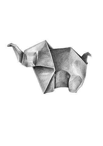 pencil, drawing, art, elephant, origami, shading