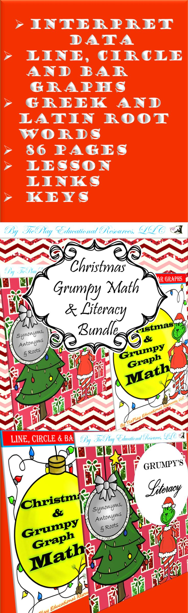 Price $10.00 Grumble, grumble grumble...It's a grumpy money saving bundle of 86 pages! Christmas and Grumpy Math Literacy Bundle involves fun with Greek and Latin academic words, and interpretation of line, circle and bar graph data.