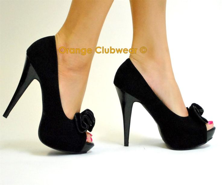PINUP Sexy Black Faux Suede Peep Toe 5