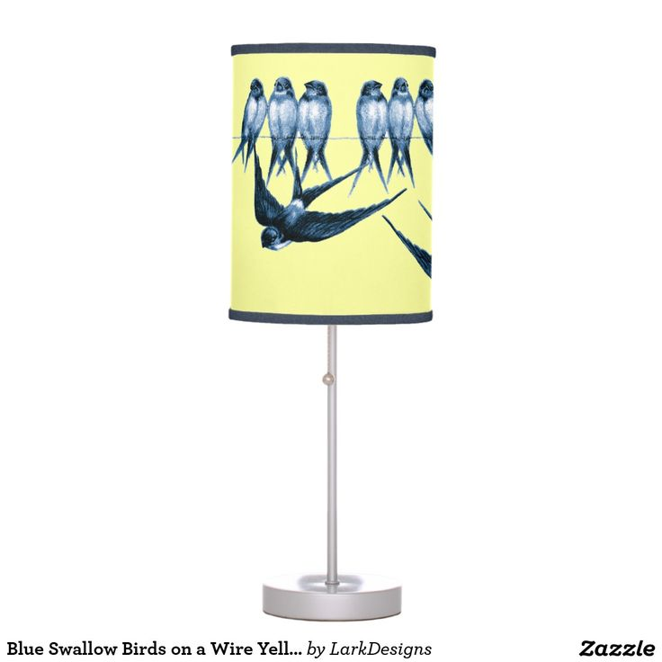 Blue Swallow Birds on a Wire Yellow Desk Lamp
