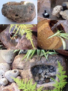 A stone, a water pump and creativity ... and enjoy your garden!!