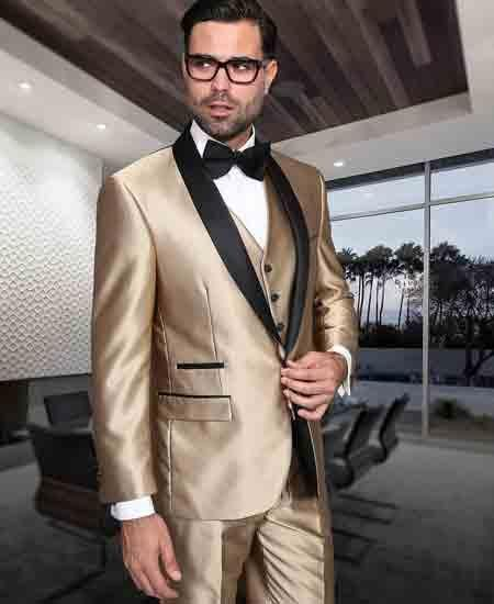 SKU#SM1727 Mens Gold And Black 3 Piece Shiny Tuxedo Shawl Lapel Modern Fit Vested Suit
