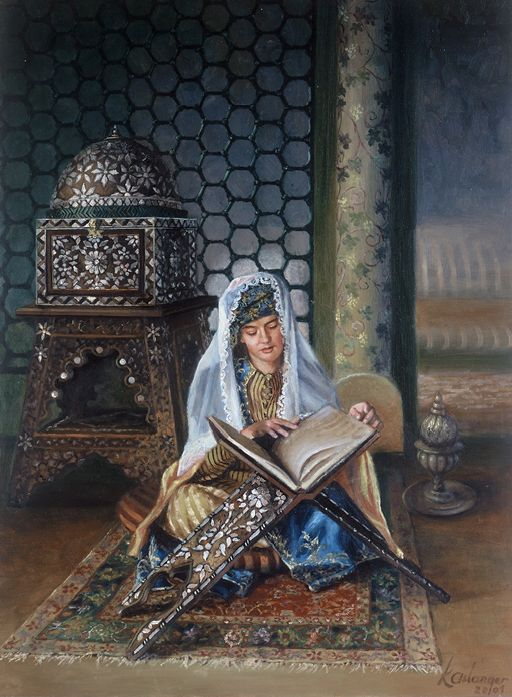 Aslanger, Kamil (b,1949)- Woman Reading on Carpet w Book Stand