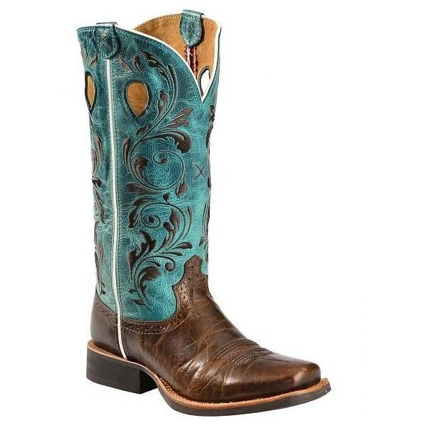 Twisted X Ruff Stock Turquoise Embroidered Cowgirl Boots Square Toe (142.650 COP) ❤ liked on Polyvore featuring shoes, western shoes, square toe shoes, twisted shoes, cowboy shoes and turquoise shoes