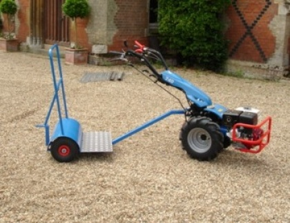 The Travel Platform allows the BCS 740 Two Wheel Tractor to operate a variety of implements including an Aerator, Slitter, Lawn Rake, Roller and Trailer. This gives the BCS 740 even more versatility, making it even better value for money.    The Travel Platform is effectively a platform on which the operator stands which is attached to the power unit. The implements then attach behind the Travel Platform.