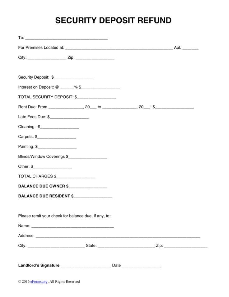 Return Form Template Free Security Deposit Letter Word Pdf Eforms