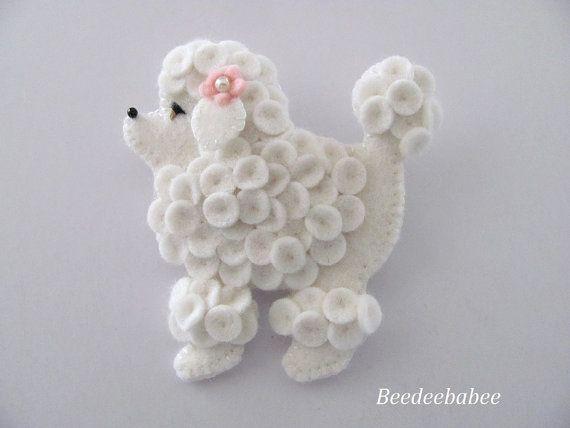 Felt Poodle Pin /  Felt Poodle Brooch by Beedeebabee on Etsy