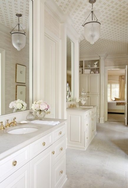 White bathroom. Amazing ceiling, fixture, pale grey grasscloth. by mia