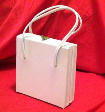 Square Handbag Vintage White 50s or 60s by Hoopties for $20.00