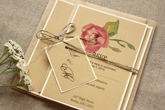 Rustic and watercolor wedding invitation - twine tag http://www.amelia-wedding.co.uk/