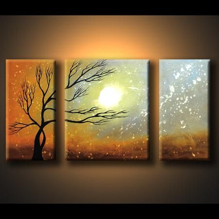 Tree Paintings On Canvas | ... painting 2007 :: 3 panels :: Dafen Oil Painting on canvas tree -set431